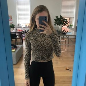 Urban outfitters cheetah crop turtleneck
